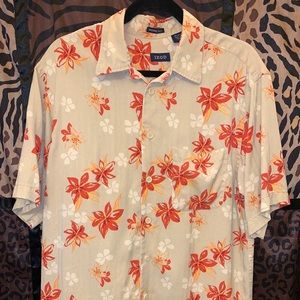 Izod 100% Silk Camp Hawaiian Shirt